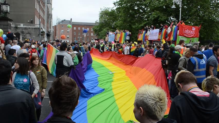 DUBLIN, IRELAND - JUNE 2013. Annual Dublin Gay Pride Parade along O´Connell Street in Dublin, Ireland. Lesbian, gay, bi, and transgender people celebrate diversity.