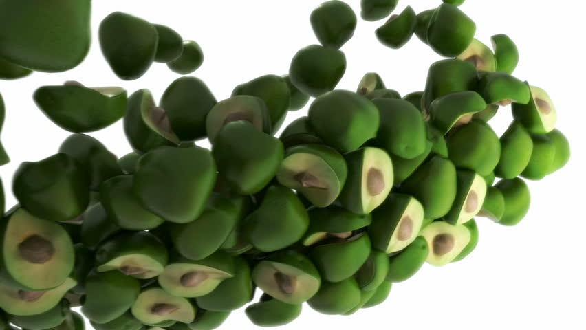 Avocado flow with slow motion over white