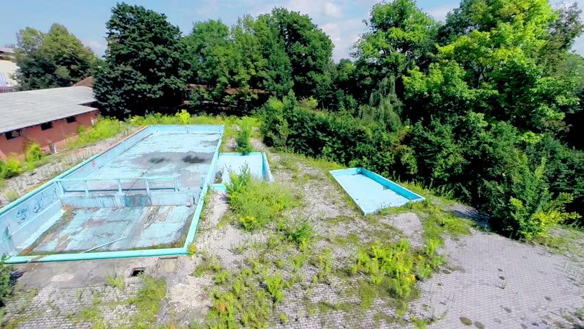 Ljubljana slovenia august 2014 flying over destroyed for Unused swimming pool