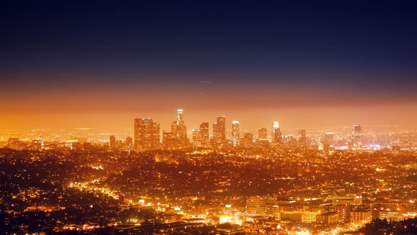 City of Los Angeles cityscape panorama with view of downtown on horizon. 4K UHD Timelapse.