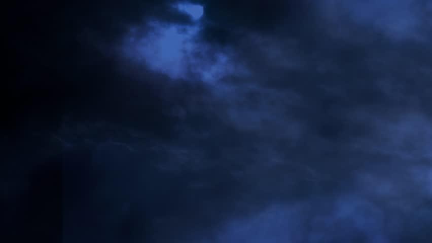 Dark Blue Sky Background: Dark Blue Night Sky With Clouds Flying. Stock Footage