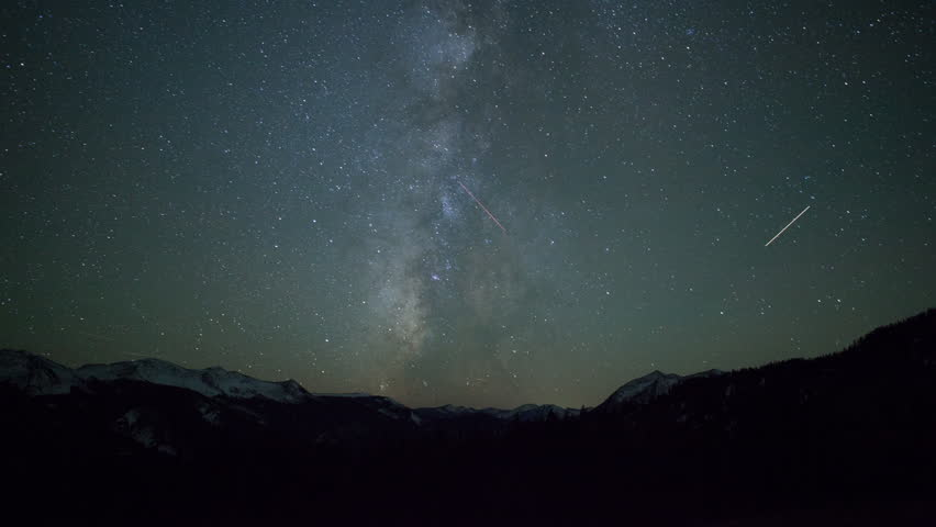 4K Time Lapse of Milky Way Galaxy Stars in Rocky Mountains Colorado