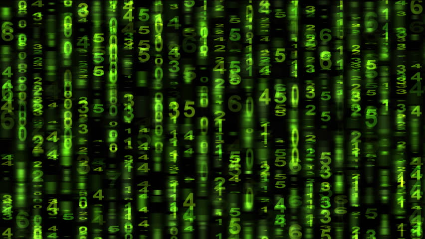 scrolling numbers matrix style animation stock footage