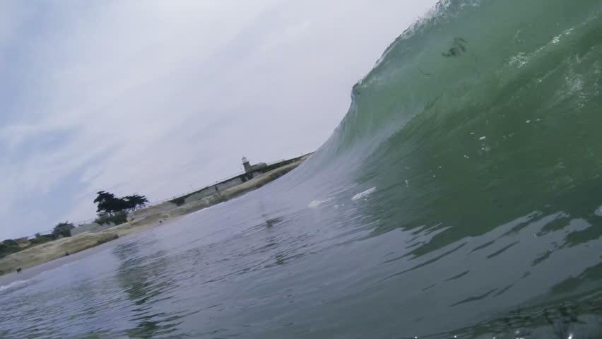Ocean Wave breaking over the camera in slow motion. Filmed in Santa Cruz, California, USA.