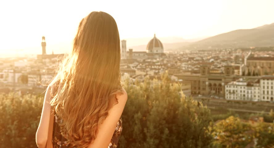 Pretty Young Female Tourist Happy Vacation Sunset Florence