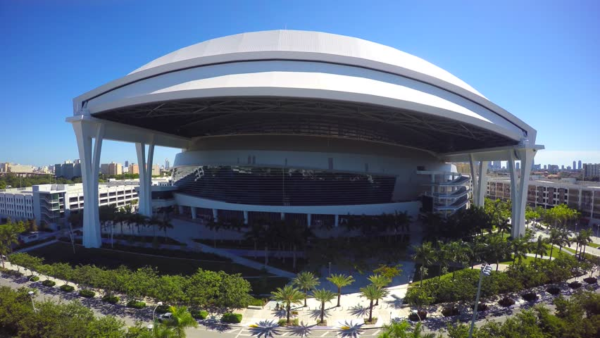 MIAMI - OCTOBER 17: Aerial 4k video of the Marlins Stadium in Miami FL. Marlins Stadium is home to the Florida Marlins Baseball team October 17, 2014 in Miami USA.  - 4K stock video clip