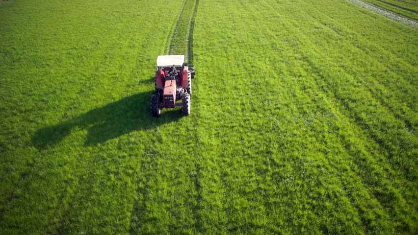 Aerial shot of a tractor working in in a field, compressing the grass in Italy, full HD