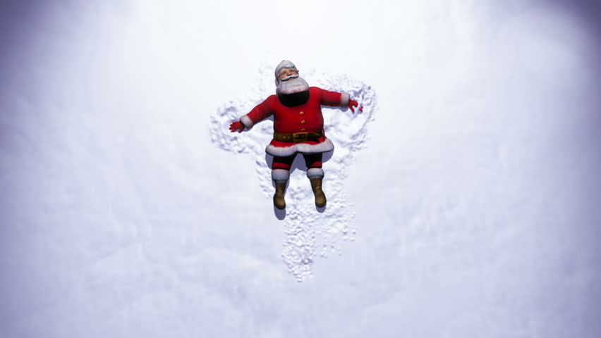 Santa makes a snow Angel