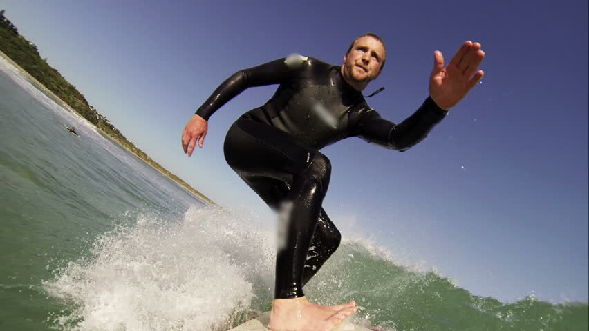 Surfing pov. HD Slow Motion - HD stock video clip