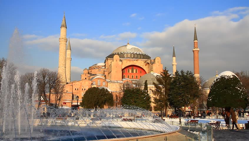 Winter in Istanbul. Hagia Sophia under snow. It was the largest cathedral of the world for 1000 years as of its construction.