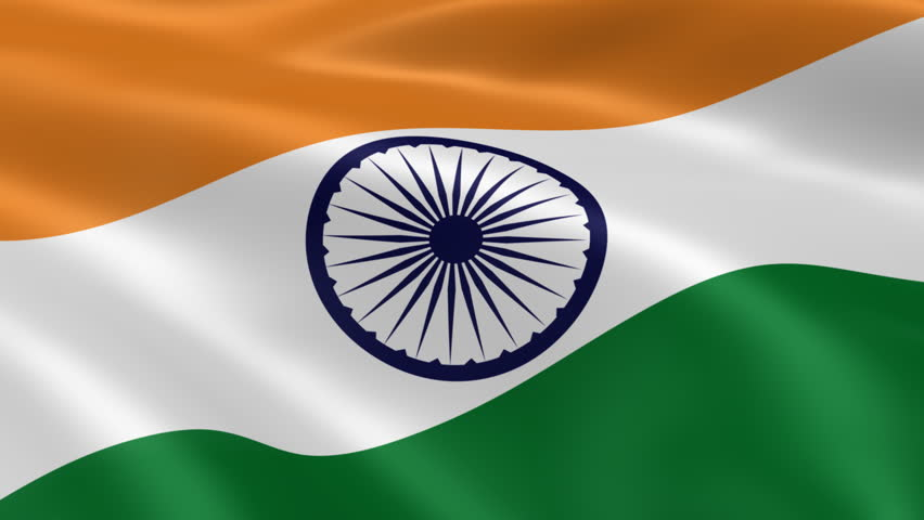 Indian Flag In The Wind. Part Of A Series. Stock Footage