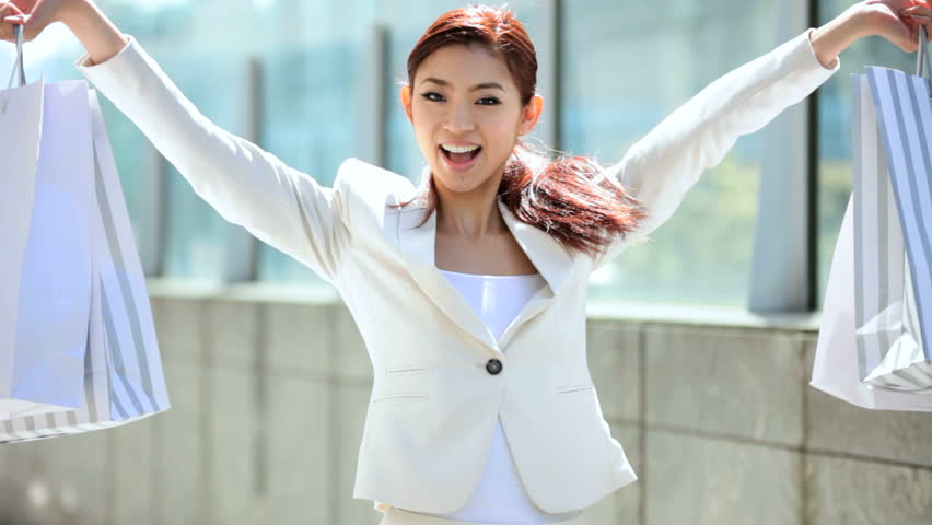 Happy young attractive portrait Asian Japanese woman style elegant retail economy commerce fashion business industry tourism