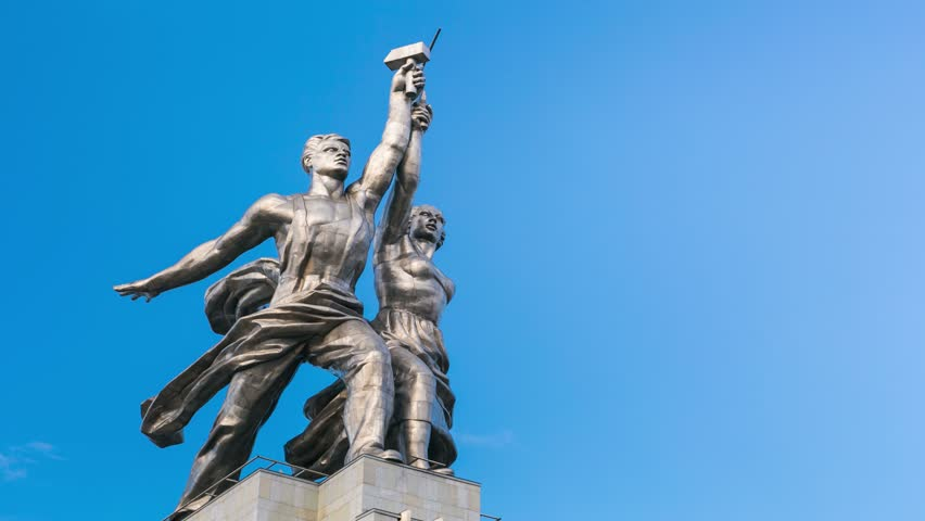 4k timelapse of famous soviet monument Rabochiy i Kolkhoznitsa ( Worker and Kolkhoz Woman OR Worker and Collective Farmer) of sculptor Vera Mukhina, Moscow, Russia. Made of in 1937.  - 4K stock video clip