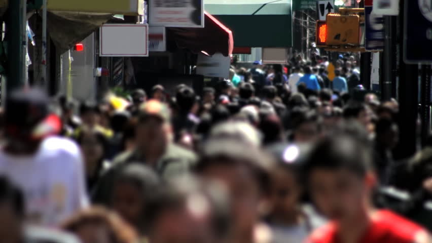 Crowded Sidewalk Time Lapse - HD stock footage clip