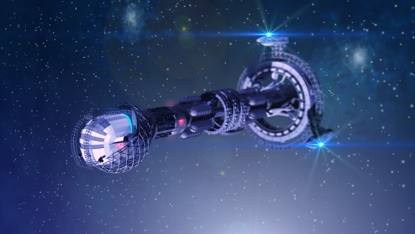 3D model of futuristic space ship in interstellar deep space travel - HD stock footage clip