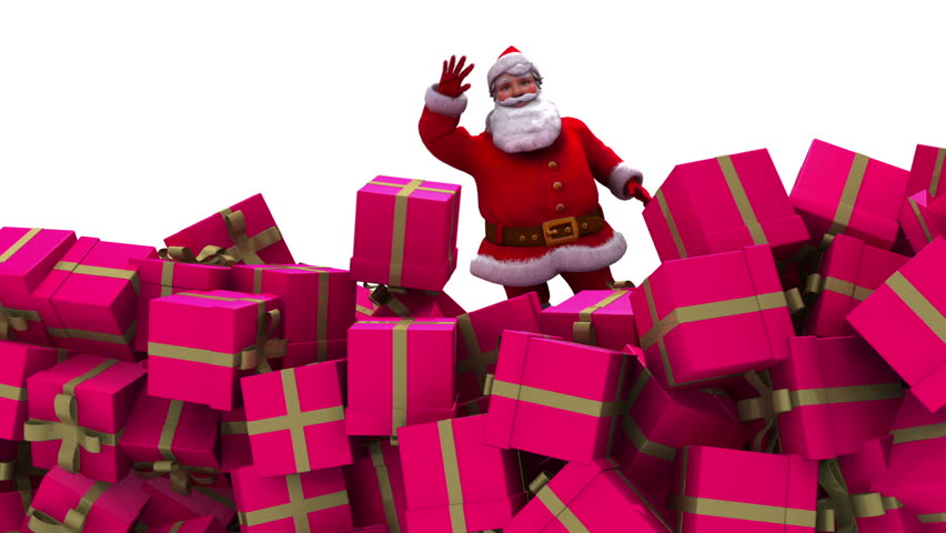 Santa Claus falls into pile of presents and waves to camera