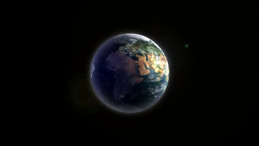 realistic Earth rotating slowly around its axis