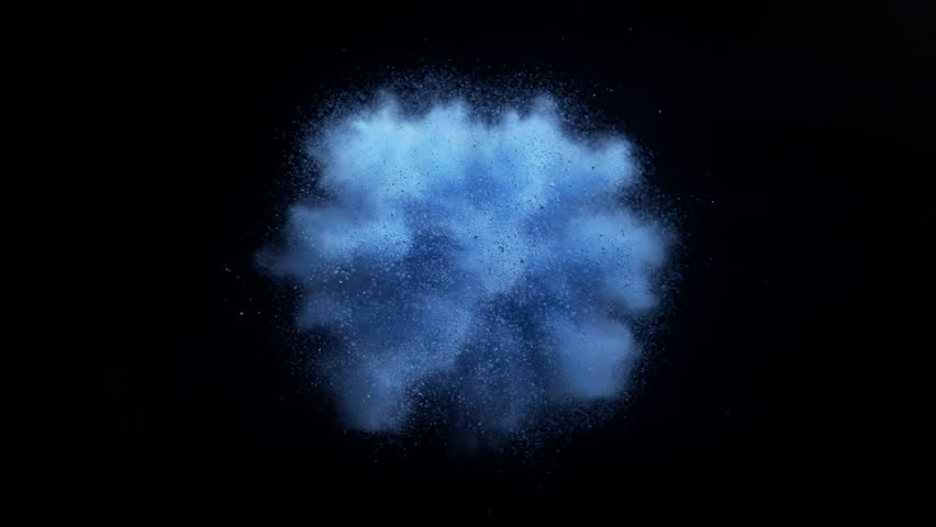 Blue powder/particles fly after being exploded against black background. Shot with high speed camera, phantom flex 4K. 4K 30fps. Slow Motion.