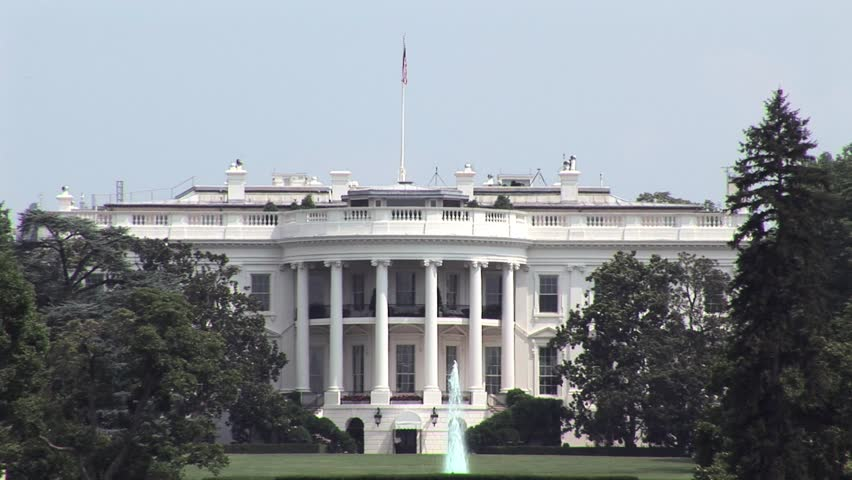 Wide Shot of White House south side.  Summertime.   - HD stock footage clip