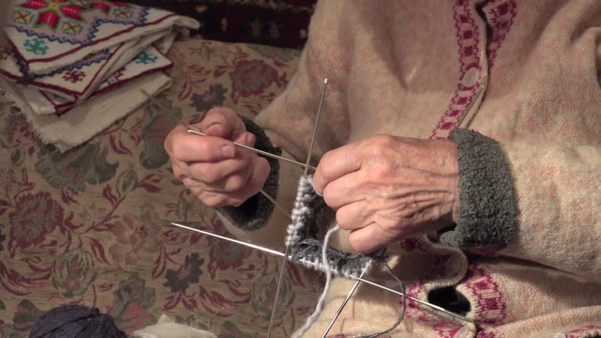 Old Lady Knitting Images : Hands of an old woman knitting sock stock footage video
