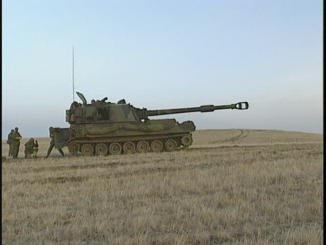 M109 self propelled 155mm, four shot, various close ups (BetacamSP) - SD stock video clip
