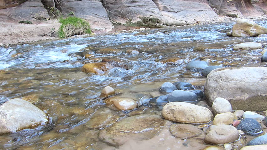 Flowing river water in Zion National Park, Utah, USA.  With natural sound and 1080p High Definition Video.