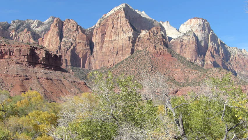 Panning shot of Mountain Peaks in Zion National Park, Utah, United States of America.