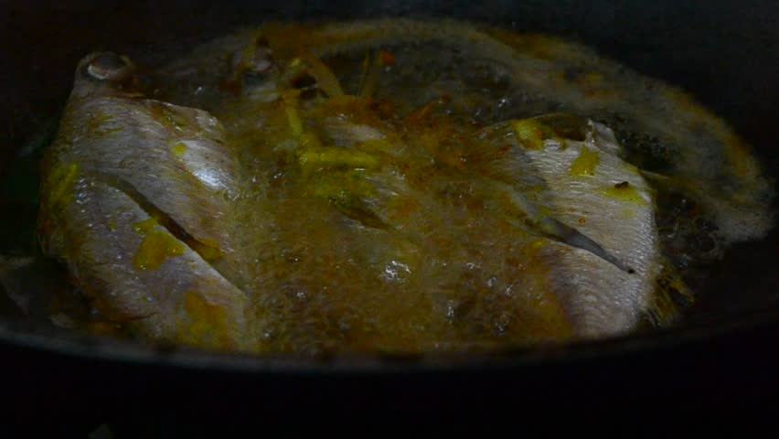 Fresh fish frying in hot oil stock footage video 4989482 for Best oil for frying fish