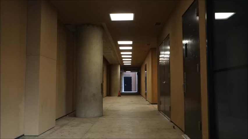 Long corridor with ceiling lights stock footage video for Foyer meaning in english