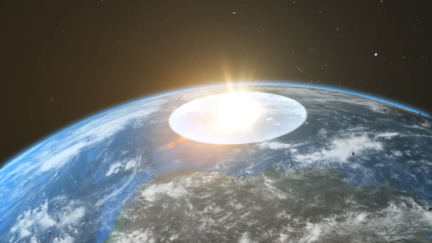 asteroid crash to the earth, realistic 3d animation  - HD stock video clip