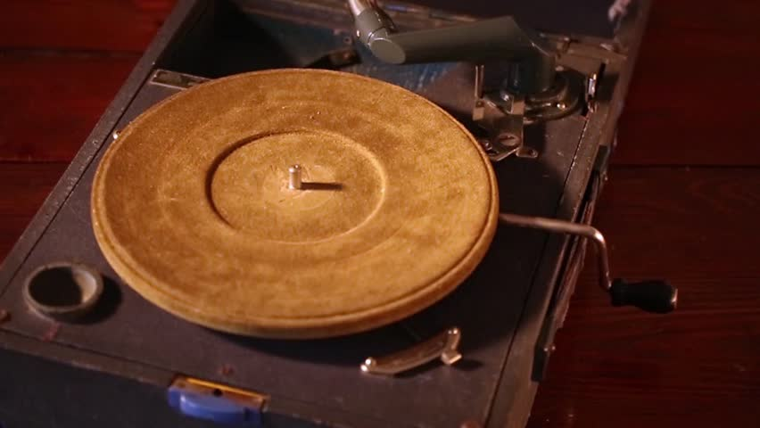 Spinning record player.