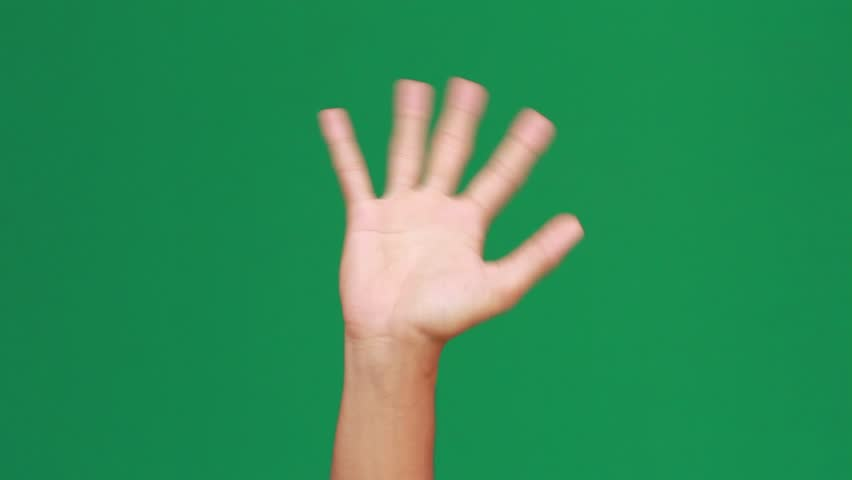 Hand Bye Bye Green Screen