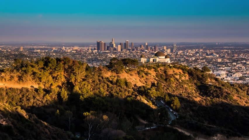 beautiful sunset los angeles from griffith park 4k stock. Black Bedroom Furniture Sets. Home Design Ideas