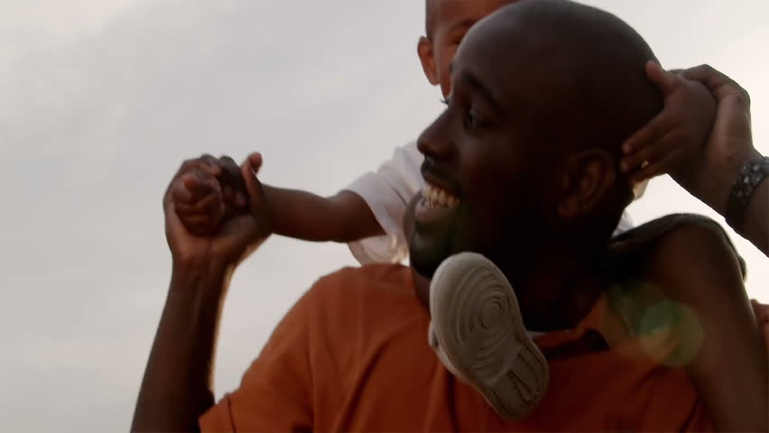 A father and son play in a wheat field on a sunny day. - HD stock video clip