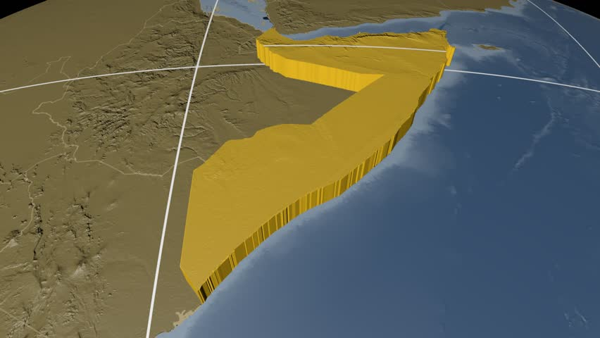 Somalia extruded on the world map with administrative borders and graticule. Elevation and bathymetry data on solid colors used. Elements of this image furnished by NASA.