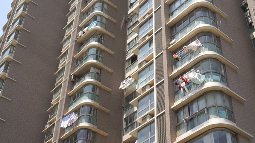 Shanghai china circa june 2015 laundry hanging for Apartment clothing