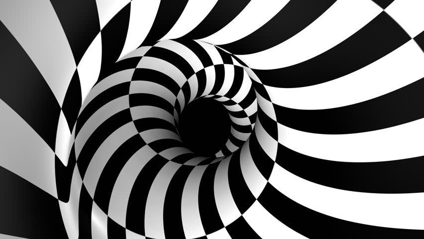 black and white spiral animation - HD stock footage clip