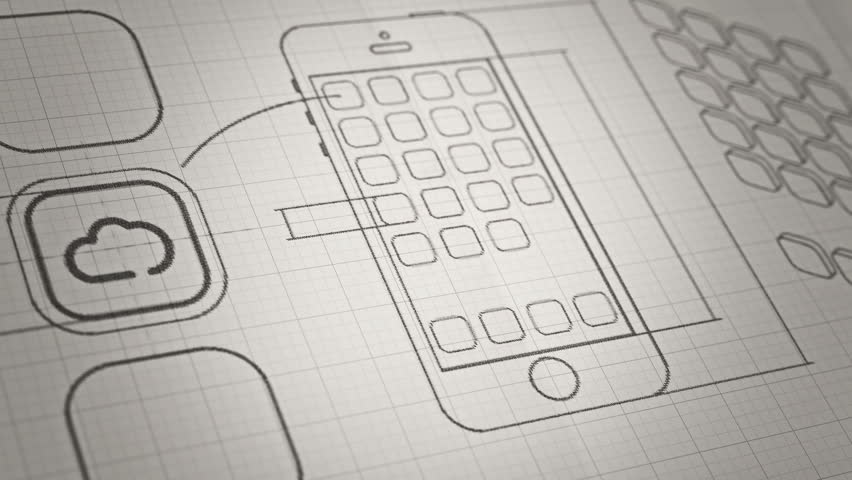 mobile app development sketch concept technology drawing