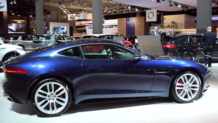 BRUSSELS, BELGIUM - JANUARY 15: Blue Jaguar F-Type R coupe sports car on display at the 2015 Brussels Motor Show.