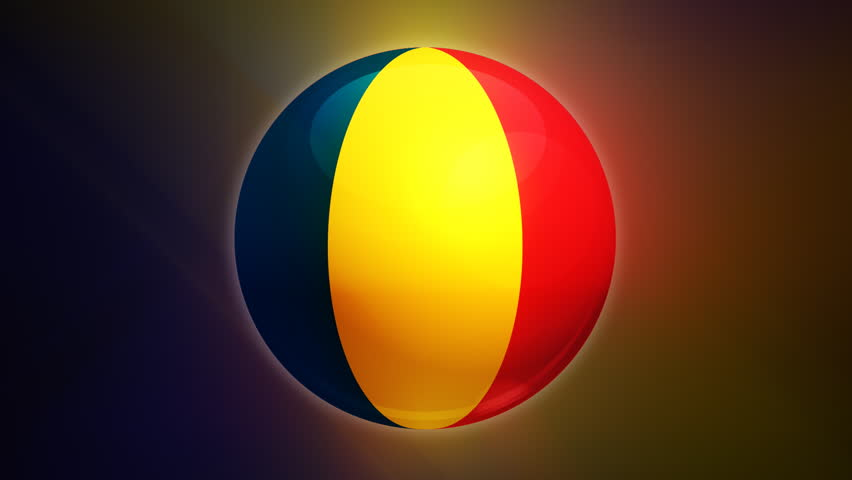 Romania flag spinning globe with shining lights - loop