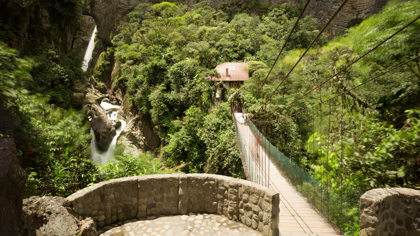 Tourists come and go , Pailon del Diablo waterfall Ecuador, 4k static shot - 4K stock video clip