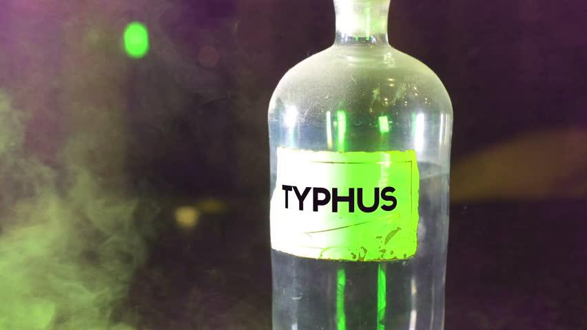Typhus in a bottle, disease symbolism