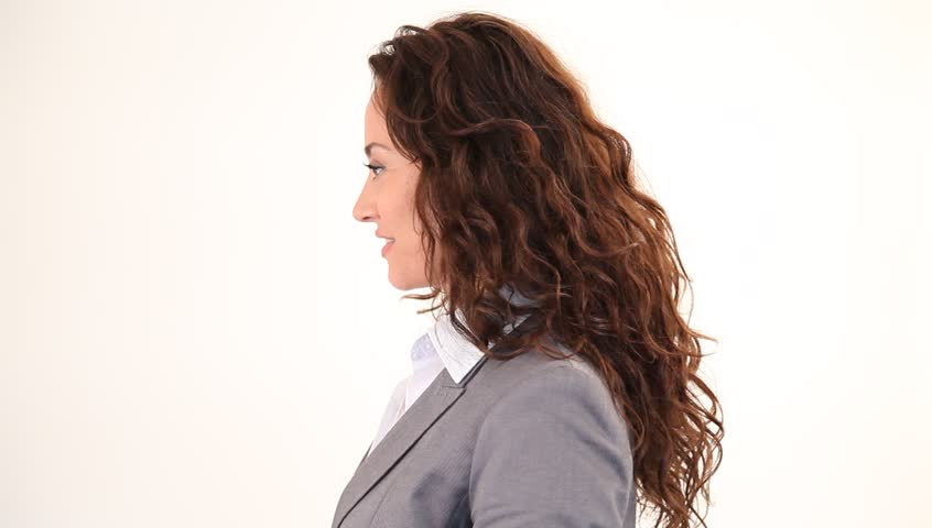 Businesswoman pointing at camera - HD stock footage clip