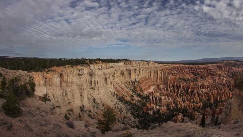 Time lapse of clouds moving above Bryce Canyon National Park in Utah, United State