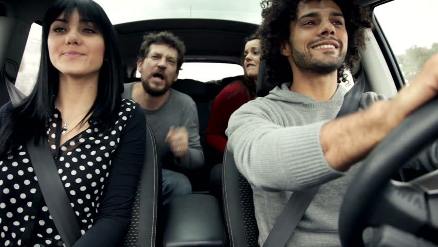 friends in car singing and dancing like crazy - HD stock footage clip
