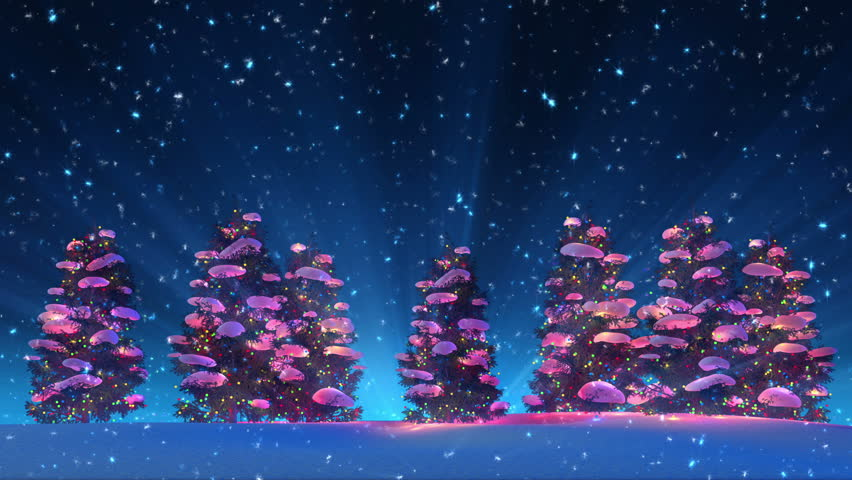 Christmas Trees and Snow (4K HD Animation Loop)