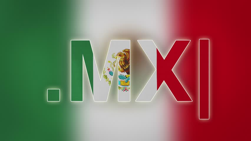 """MX - internet domain of Mexico. Typing top-level domain """".MX"""" against blurred waving national flag of Mexico. Highly detailed fabric texture for 4K resolution. Source: CGI rendering. Clip ID: ax963c"""