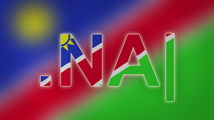 "NA - internet domain of Namibia. Typing top-level domain "".NA"" against blurred waving national flag of Namibia. Highly detailed fabric texture for 4K resolution. Source: CGI rendering."