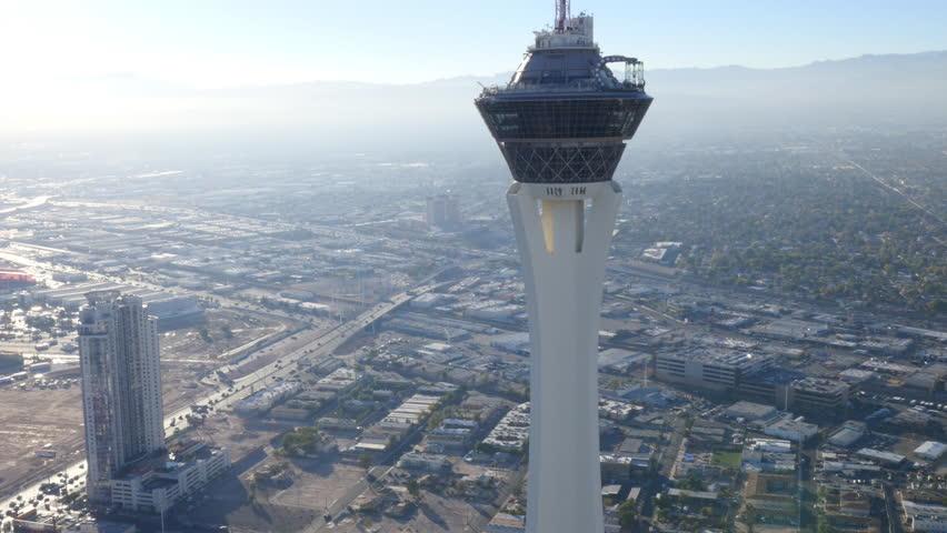 Las Vegas, Nevada, USA - November 26, 2014: Daytime aerial view of Stratosphere