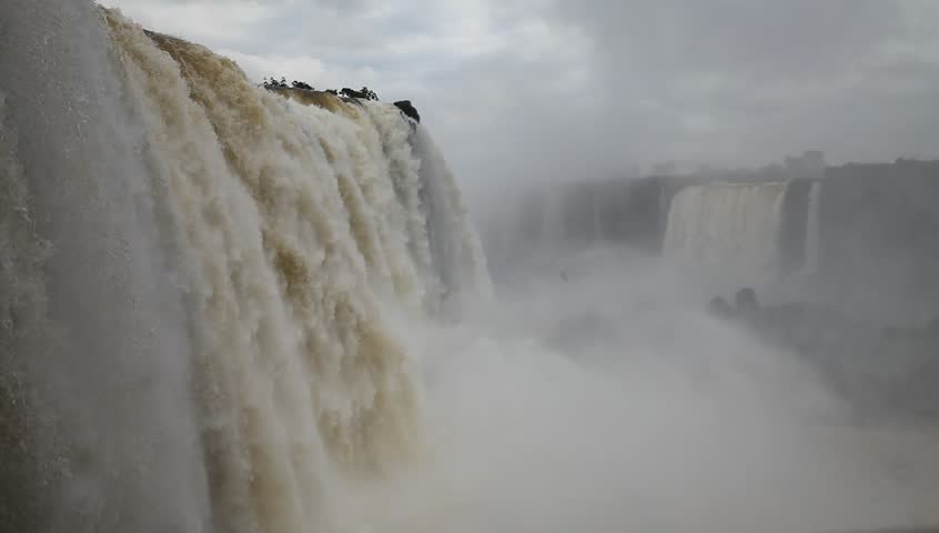 View of Iguazu falls showing the big water flow, brazilian side. Foz do Iguacu, Brazil.
